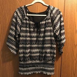Dress Barn Tops - Black, Gray White Blouse